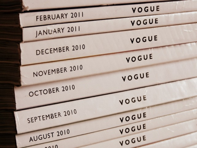 Pile of Vogue print magazine