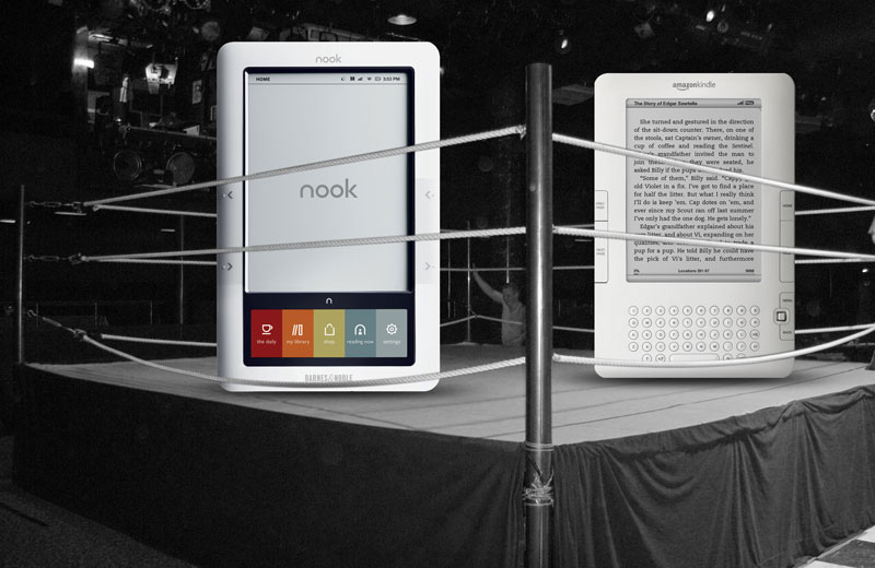 Barnes & Noble's - Picture of Kindle vs. Nook