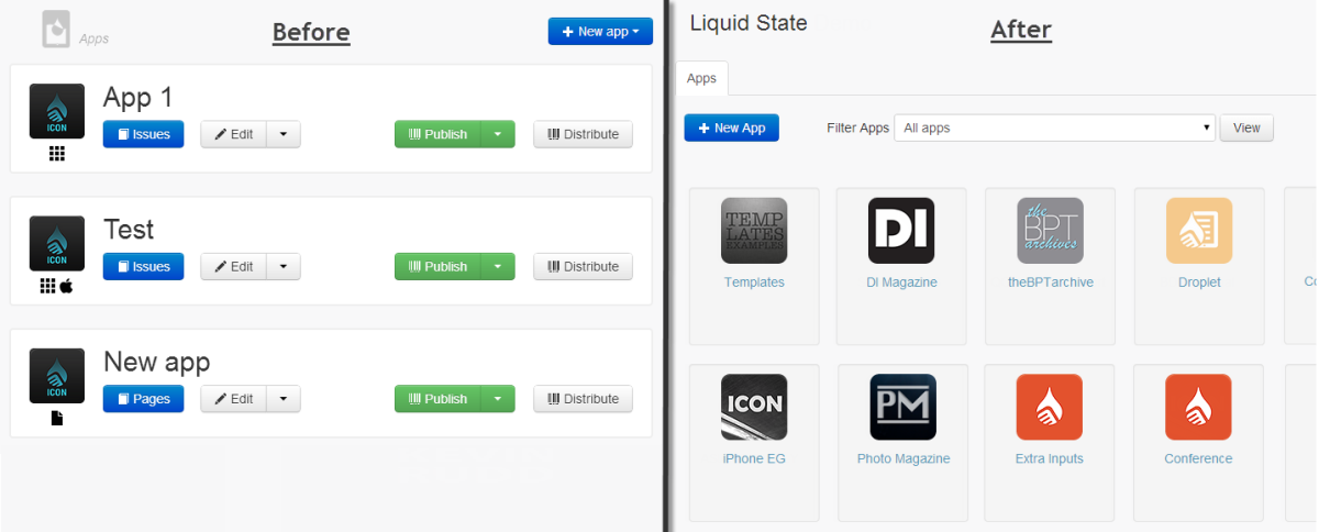 Liquid State UI: Before and after